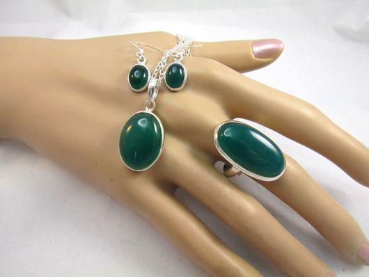 Комплекты украшений ручной работы. Ярмарка Мастеров - ручная работа. Купить Комплект с зелёным ониксом. Handmade. Зеленый