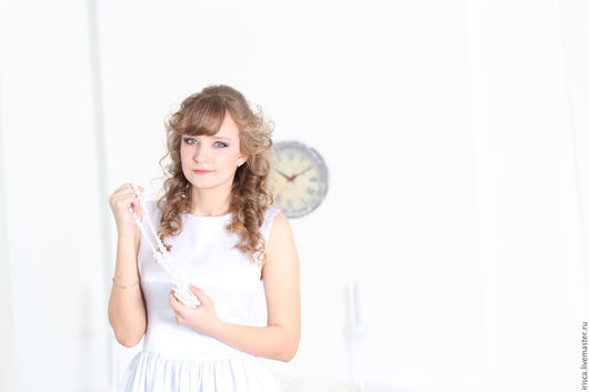 """Платья ручной работы. Ярмарка Мастеров - ручная работа. Купить Белое платье из атласа """"Дюймовочка"""". Handmade. Белый, Коктейльное платье"""