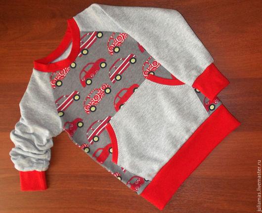 Одежда для мальчиков, ручной работы. Ярмарка Мастеров - ручная работа. Купить Свитшот Авто. Handmade. Серый, толстовка, трикотаж