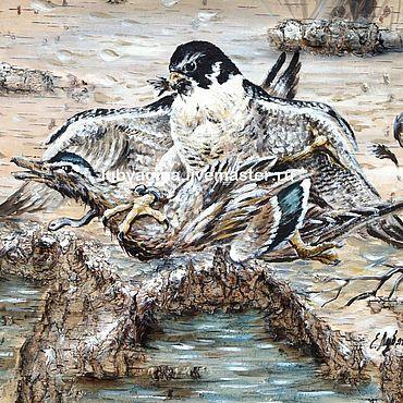 Картины и панно. Ярмарка Мастеров - ручная работа Соколиная охота. Картина на бересте.. Handmade.