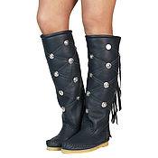 Обувь ручной работы handmade. Livemaster - original item Winter high boots with fur ROMBO (dark grey). Handmade.