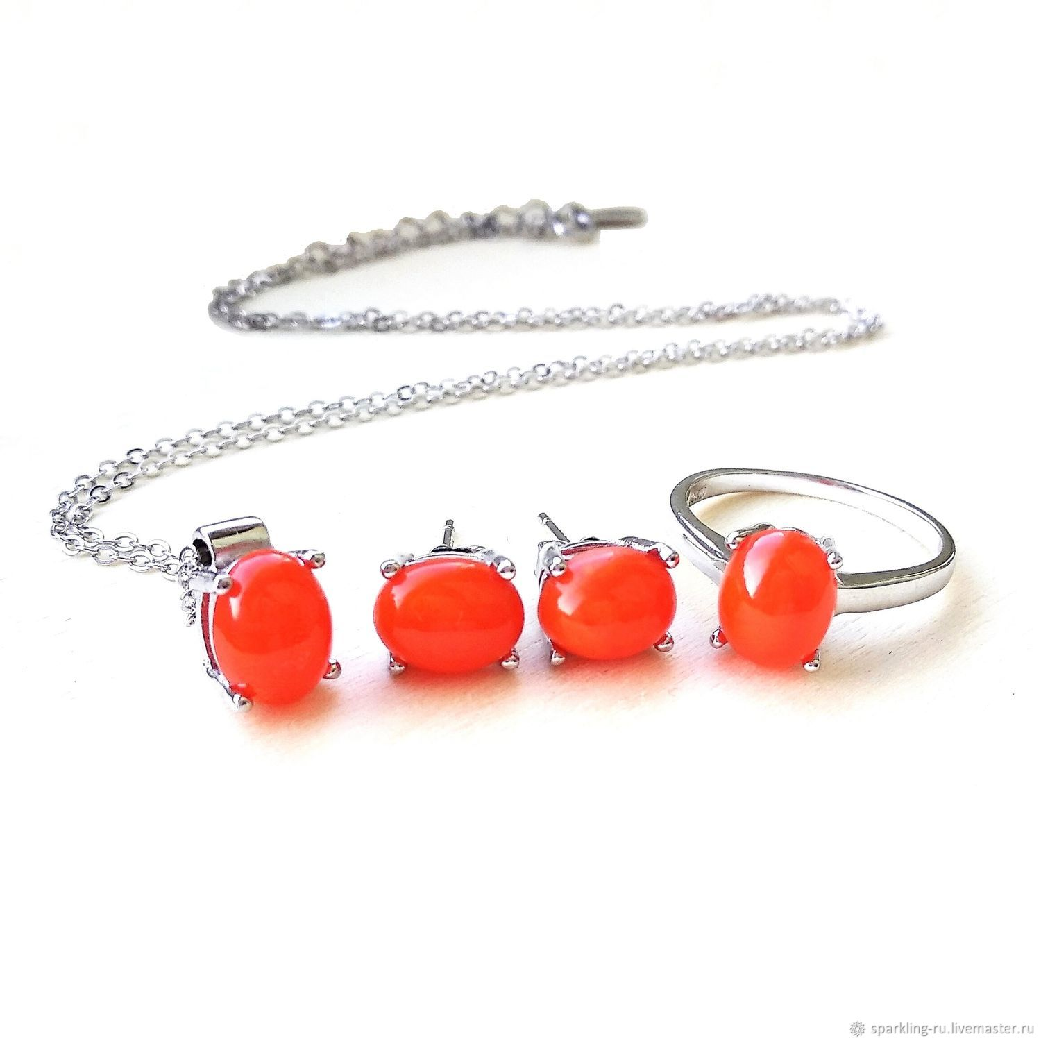 Jewelry set Mexican fire opal silver, p. .16 and p. .17, Jewelry Sets, Moscow,  Фото №1
