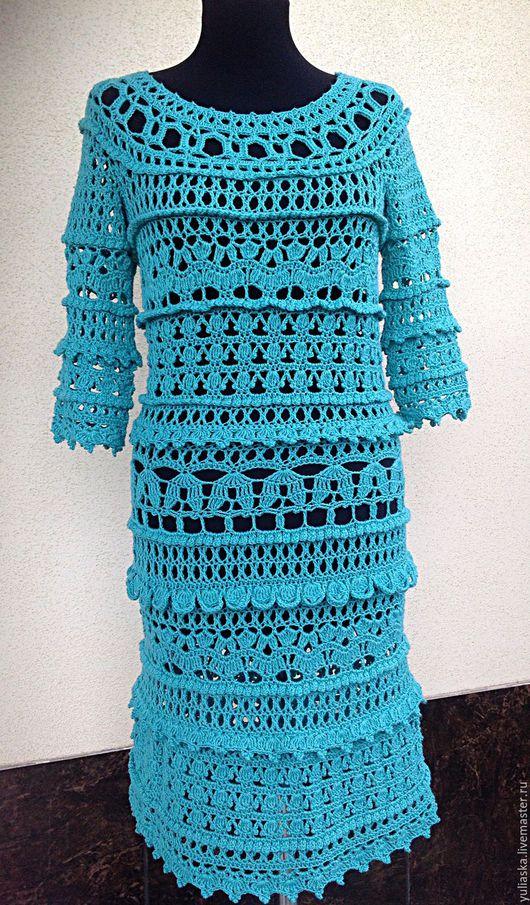 Платья ручной работы. Ярмарка Мастеров - ручная работа. Купить Платье крючком Оливия. Handmade. Тёмно-бирюзовый, нарядное платье