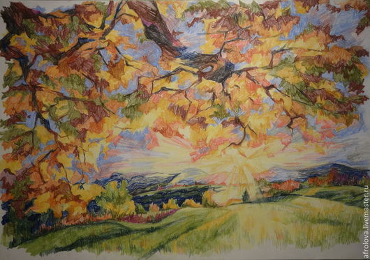 Пейзаж ручной работы. Ярмарка Мастеров - ручная работа. Купить Солнце, пробивающееся сквозь листья клёна. Handmade. Пейзаж, клены