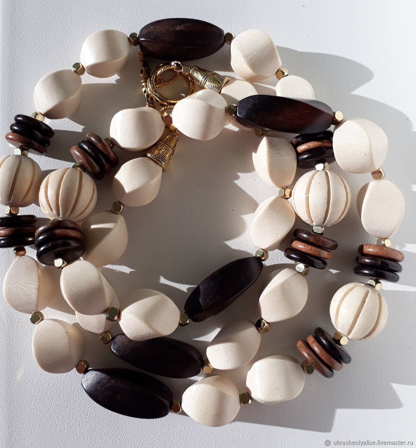 'Je t'aime' wooden beads, Necklace, Moscow,  Фото №1