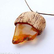Украшения handmade. Livemaster - original item Pendant made of Karelian birch with wild amber. Handmade.