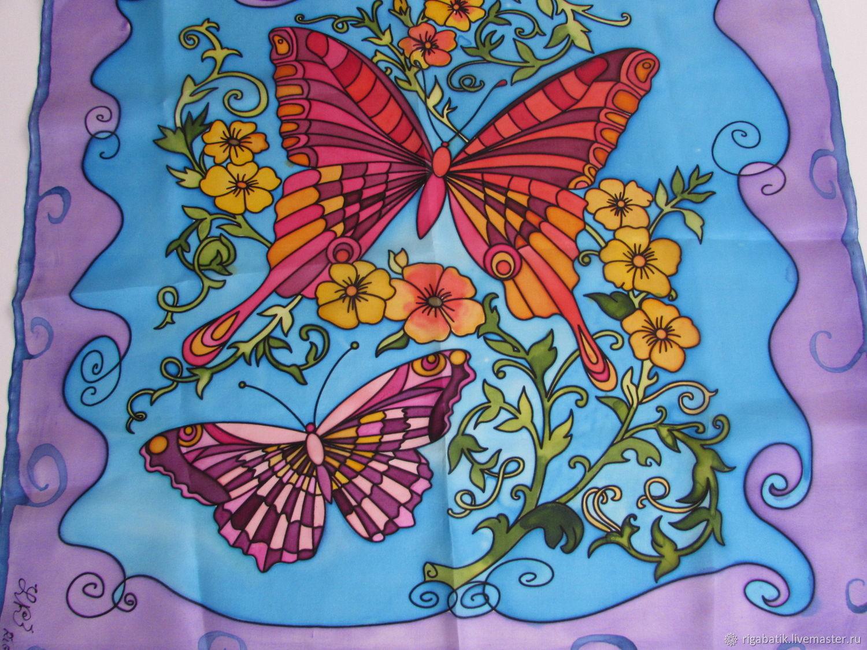 Batik One summer. Butterflies and flowers, Shawls1, Riga,  Фото №1