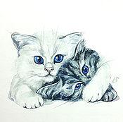 Картины и панно handmade. Livemaster - original item watercolor painting cats, White and gray. Handmade.