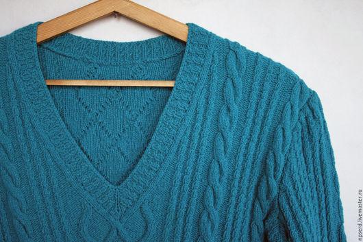 Кофты и свитера ручной работы. Ярмарка Мастеров - ручная работа. Купить Пуловер с узором косы Сочная бирюза. Handmade. Бирюзовый