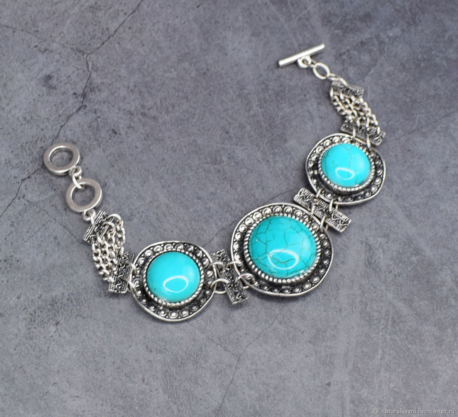 Bracelet tinted torquent a turquoise, Bead bracelet, Moscow,  Фото №1