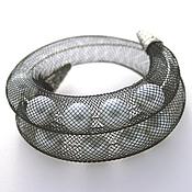Украшения handmade. Livemaster - original item Mesh tube bracelet with pearls, 2-strand. Handmade.