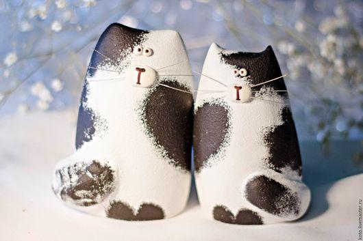 Подарки для влюбленных ручной работы. Ярмарка Мастеров - ручная работа. Купить Подарок на 14 февраля - пара кот и кошка чёрно-белые. Handmade.
