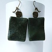 Украшения handmade. Livemaster - original item Large earrings with green jade. Handmade.