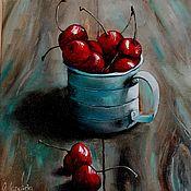 Картины и панно ручной работы. Ярмарка Мастеров - ручная работа Картина маслом Вишня в кружке. Handmade.