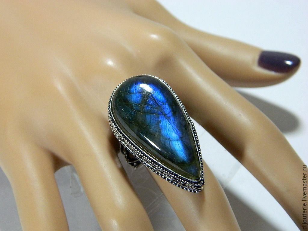 Ring 'moonlight -4', natural Labradorite. Handmade, Phalanx ring, Saratov,  Фото №1