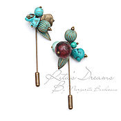 Украшения handmade. Livemaster - original item Small brooch-pins turquoise-berry for scarf Snood tippet coat. Handmade.
