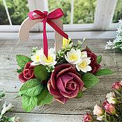 Косметика ручной работы handmade. Livemaster - original item Soap bouquet in a wooden pot Flower umbrella. Handmade.