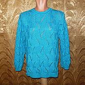 """Одежда ручной работы. Ярмарка Мастеров - ручная работа Пуловер с рельефным узором """"Бирюза"""". Handmade."""