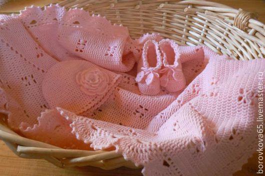 Пледы и одеяла ручной работы. Ярмарка Мастеров - ручная работа. Купить Комплект для новорождённого.. Handmade. Бледно-розовый, детский плед