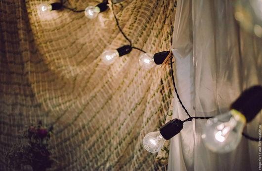 Свадебные аксессуары ручной работы. Ярмарка Мастеров - ручная работа. Купить Ретро-гирлянда из ламп накаливания. Handmade. Комбинированный, рустик