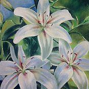 Картины ручной работы. Ярмарка Мастеров - ручная работа Картины: Белые лилии. Handmade.