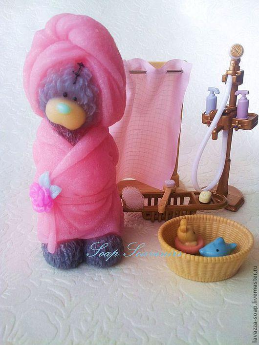 Мыло ручной работы. Ярмарка Мастеров - ручная работа. Купить Мыло Мишка в халате. Handmade. Розовый, мишка в подарок, мыло