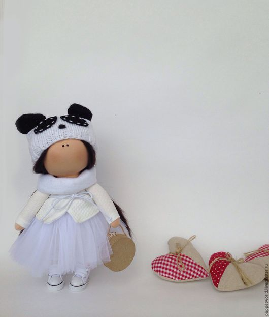 Куклы тыквоголовки ручной работы. Ярмарка Мастеров - ручная работа. Купить Интерьерная кукла Панда. Handmade. Белый, кукла интерьерная