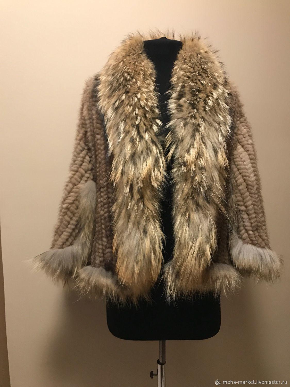 Bolero knitted mink fur with faux raccoon `beige`