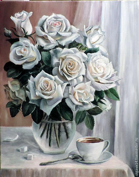 Натюрморт ручной работы. Ярмарка Мастеров - ручная работа. Купить Розы на окне. Handmade. Разноцветный, картина, картина в подарок