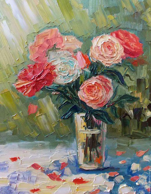 Натюрморт ручной работы. Ярмарка Мастеров - ручная работа. Купить Картина маслом Букет роз. Handmade. Комбинированный, розовые розы