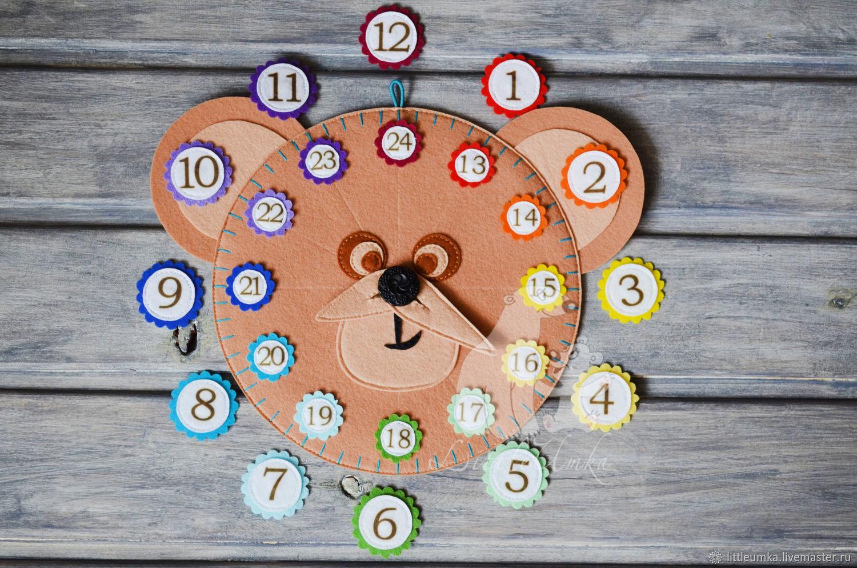 Игровой набор: Развивающие часы из фетра, Игровые наборы, Кировград,  Фото №1