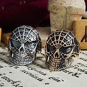 Украшения handmade. Livemaster - original item the skull ring in the web. A man`s skull ring. bronze silver.. Handmade.