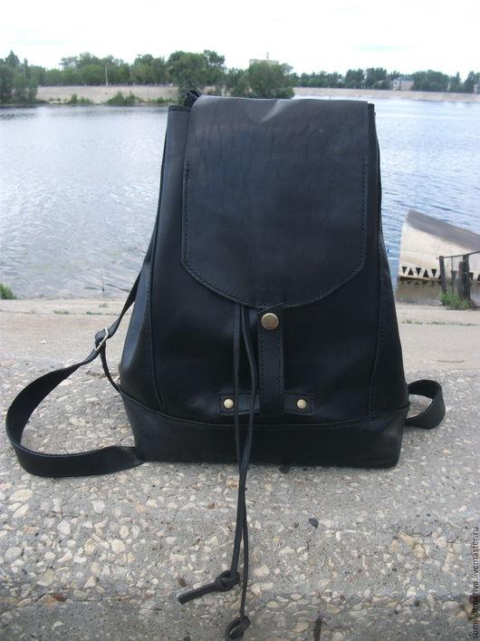 Рюкзаки ручной работы. Ярмарка Мастеров - ручная работа. Купить Рюкзак из кожи Черный принц. Handmade. Черный, сумка из кожи