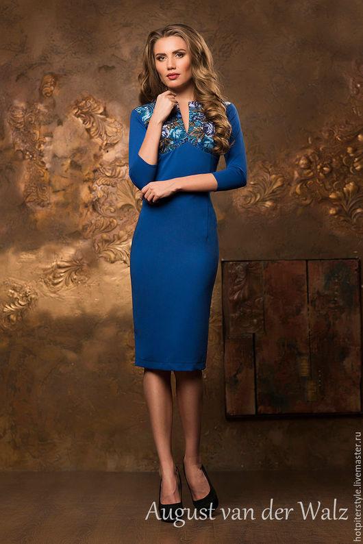Платье футляр, сезон осень, весна, зима, платье в стиле `А-ля Русс`. Платье в офис. Ручная работа.