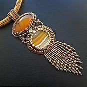 Украшения handmade. Livemaster - original item Sunset Magic Pendant Embroidered Pendant with Agate. Handmade.