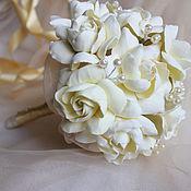 Цветы и флористика ручной работы. Ярмарка Мастеров - ручная работа Букет невесты из полимерной глины с гардениями. Handmade.
