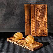 Посуда handmade. Livemaster - original item Cutting boards made of Siberian cedar with engraving 4 pcs. RDN22. Handmade.