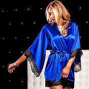 Robes handmade. Livemaster - original item Silk robe with lace Sapphire blue Gift to a girl. Handmade.