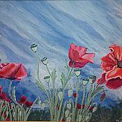 """Картины и панно ручной работы. Ярмарка Мастеров - ручная работа Картина """"Маки"""" гуашью. картина. картина маки. картина природа. Handmade."""