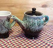 """Посуда ручной работы. Ярмарка Мастеров - ручная работа Чайник с чашкой """"Дачные"""". Handmade."""