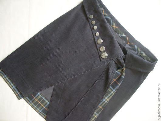 Юбки ручной работы. Ярмарка Мастеров - ручная работа. Купить Вельветовая юбка с запАхом. Handmade. Тёмно-синий, одежда