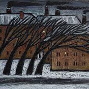 """Картины ручной работы. Ярмарка Мастеров - ручная работа Картина """"Северный ветер"""" город, зима, масляная пастель. Handmade."""