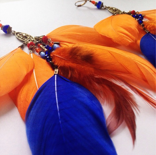Серьги ручной работы. Ярмарка Мастеров - ручная работа. Купить Оранжевые бохо серьги с агатом. Handmade. Серьги ручной работы