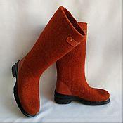 Обувь ручной работы handmade. Livemaster - original item Boots felted Terracotta h 25-30. Handmade.
