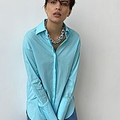 Одежда handmade. Livemaster - original item Shirt with a classic cut in a turquoise shade. Handmade.
