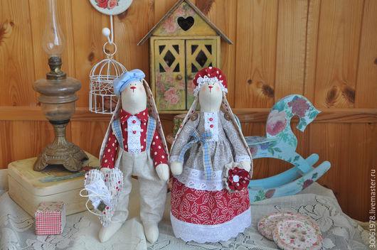 """Куклы Тильды ручной работы. Ярмарка Мастеров - ручная работа. Купить Парочка зайцев в стиле Тильда """"На двоих одно дыхание"""". Handmade."""