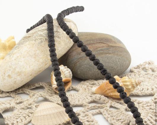 Для украшений ручной работы. Ярмарка Мастеров - ручная работа. Купить Лавовый камень черный бусины шар 4мм - арт.13-04. Handmade.