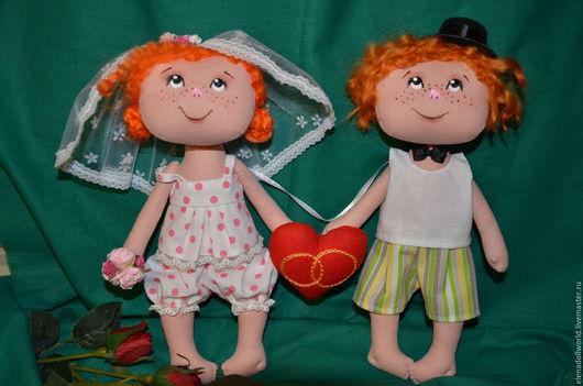 Куклы тыквоголовки ручной работы. Ярмарка Мастеров - ручная работа. Купить Свадебные малыши. Handmade. Комбинированный, молодожены, галстук-бабочка