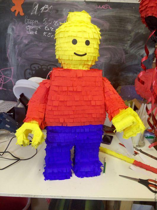Праздничная атрибутика ручной работы. Ярмарка Мастеров - ручная работа. Купить Пиньята Lego человек. Handmade. Желтый, lego, Праздник