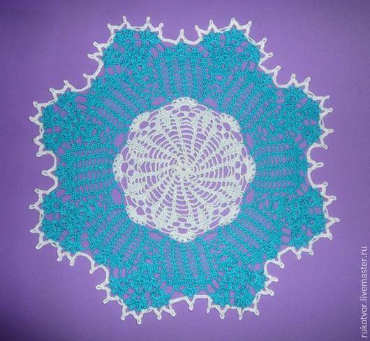 Текстиль, ковры ручной работы. Ярмарка Мастеров - ручная работа. Купить Голубо-белая салфетка. Handmade. Ажурная салфетка